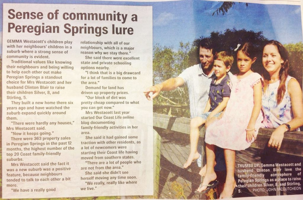 Article published in the Sunshine Coast Daily (January 27, 2018) about Our Coast Life and the Blair family.
