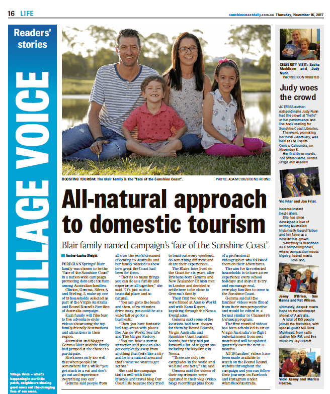 Sunshine Coast Daily article about the Blair family