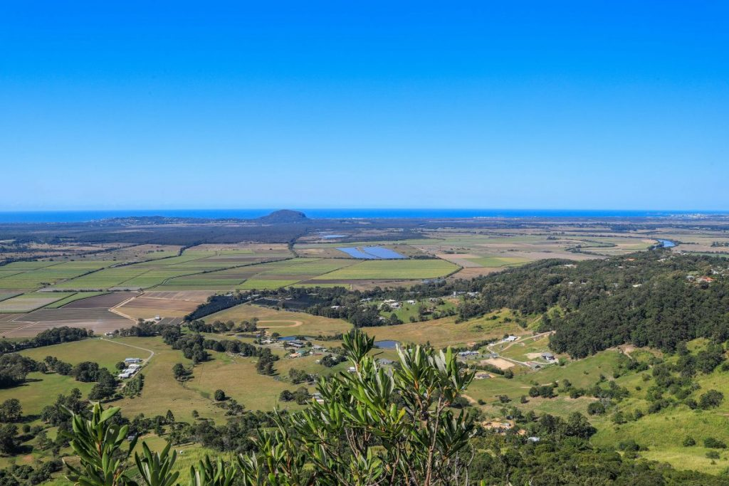 The view to the east from the top of Mt Ninderry, looking out to the coastline and Mt Coolum.