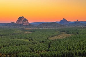 Sunrise over the Glass House Mountains as seen from Wild Horse Mountain.